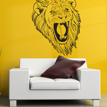 Vinyl Wall Decal Sticker Angry Lion #1253