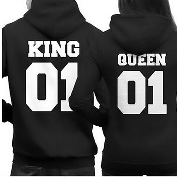2017 Fashion King Queen Hoodie Couple Pullover Sweatshirt Unisex Hoodies Causal Long Sleeve Crewneck Tracksuit For Men Women