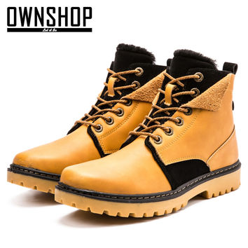 Men Boots Yellow Male Shoes PU Leather Winter Boots Fashion For Men New Design Warm Boot Shoes With Fur Mens Winter Shoes