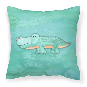 Alligator Watercolor Fabric Decorative Pillow BB7385PW1818