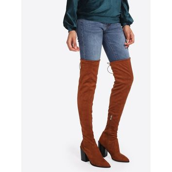 Block Heeled Lace Up Back Suede Boots