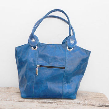 Blue leather tote, shoulder, shopping, Woman, College, School Bag, Handmade Leather Handbag, Gift For Her