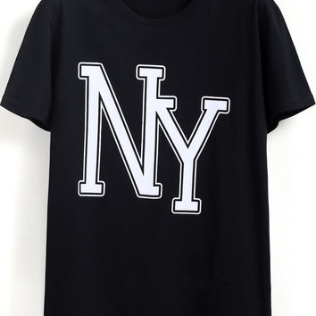 Black Short Sleeve NY Print T-Shirt