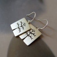 Trees Sterling silver earrings, dangle earrings, natural jewelry, OOAK earrings
