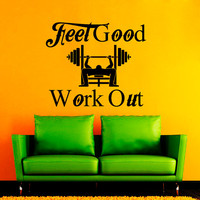 Wall Decal Vinyl Sticker Decals Art Home Decor Mural Feel Good and Work Out Lettering Weight Lifting Workout Sport Gym  NA301
