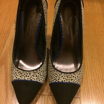 Spotted Black And White Animal Print Heels 7.5 (Small/Indie Brands)