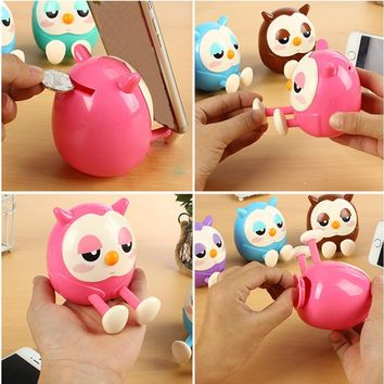 1pc Mini Owl Coin Bank Piggy Bank Multifunctional Gifts Home Decorations