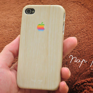 Apple iphone case for iphone iphone 5 iphone 4 iphone 4s iPhone 3Gs  : iphone wood pattern case with Apple logo (Not Real Wood)