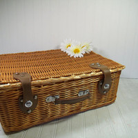 Vintage OverSized Wicker Weave Suitcase with Leatherette Handle & Latches - Retro Large Picnic Lunch Hamper - Shabby Chic BoHo Gift Card Box