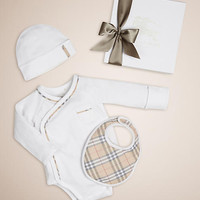 Check Cotton Three-piece Baby Gift Set White