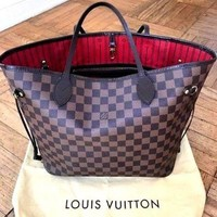 LV Louis Vuitton Women Tartan Print Tote Bag Handbag High Quality I
