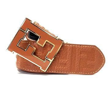 Fendi Zucca Peanut Butter Brown Gold Belt Men's 38 Designer Fashion