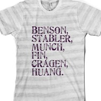 SVU Cast-Unisex Ash/White Stripe T-Shirt