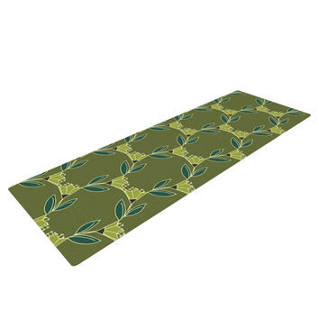 "Holly Helgeson ""Flora Vine"" Olive Green Yoga Mat"