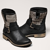 AEO Women's Studded Moto Boot (Black)