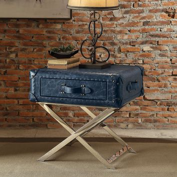 Aberdeen End Table, Vintage Blue Top Grain Leather
