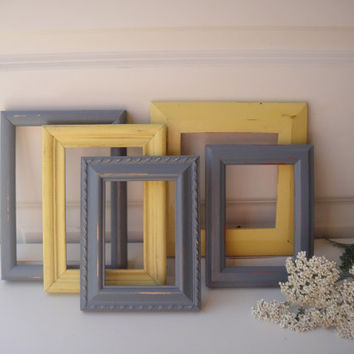 Grey, Yellow Set of 5 Shabby Frame Set- Frame Collage Chalk Paint - Distressed - Ornate - Up Cycled Beach Home Cottage Chic Decor