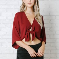 Burgundy Cropped Tie Blouse