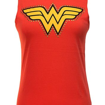 DC Comics Wonder Woman Studded Logo Junior's Muscle Tank Top