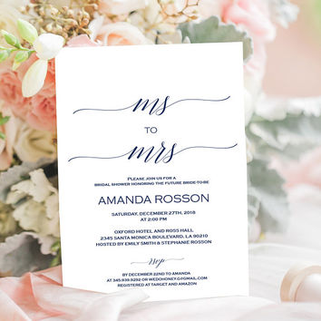 Navy bridal shower invitation instant download. Elegant calligraphy for a wedding shower invitation. Navy Wedding Calligraphy #WDH800_1