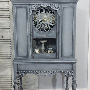 Re-Purposed Antique Radio Cabinet, Display Cabinet, China Cabinet Hand Painted and Distressed in Layers of Gray