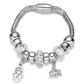Women's Silver Plated Native American Beaded with Plam and Elephant Shaped Danlge Bracelet