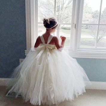 Ivory Flower Girl Dress Shabby Chic Flowers Dress Tulle Dress Wedding Dress Birthday Dress Toddler Tutu Dress 1t 2t 3t 4t 5t Morden Wedding