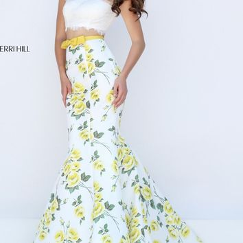 Floral Printed Two-Piece Mermaid Gown by Sherri Hill