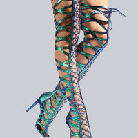 Holographic Mermaid Thigh Heels GREEN HOLOGRAPH