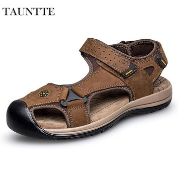 Tauntte Summer Genuine Leather Sandals Men Hook Beach Shoes Korean Anti-Odor Casual Shoes Plus Size