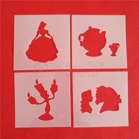 Beast Beauty Cake Stencils Fondant Cake Decorating Stencils Party Wedding Cake DIY Decor Tools