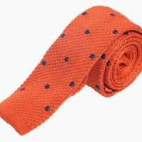 Orange Knit Tie with Blue Polka Dots