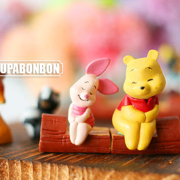 One Pair / Decoden / PVC / Charm / Mickey Mouse / Winnie the Pooh / Bambi Deer / Figurine / Miniature / 4CM / DS288