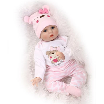 "NPKCOLLECTION Hair Rooted Realistic Reborn Baby Dolls Soft Silicone 22"" 55cm Lifelike Newborn Doll Girl XMAS Gift"
