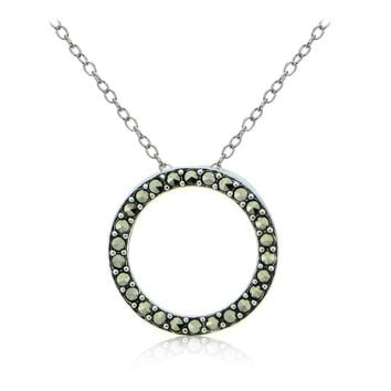 Sterling Silver Marcasite Open Circle Necklace