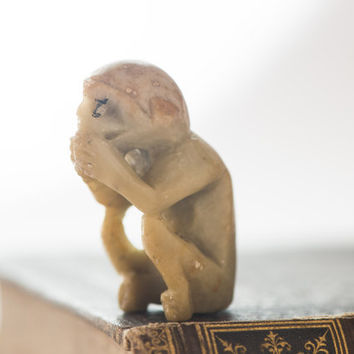 Vintage monkey figurine - stone made monkey small - moneky musing ivory tone, figurine Europe