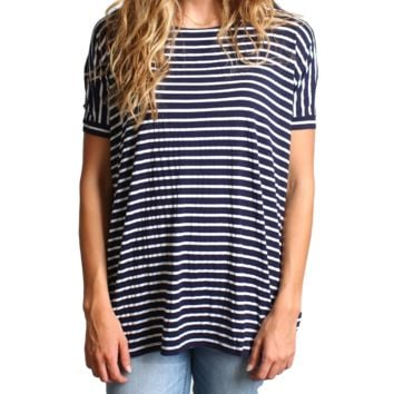 Navy Stripe Piko Short Sleeve Top