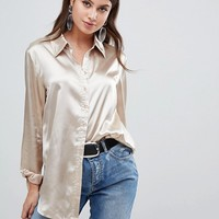 PrettyLittleThing satin shirt in champagne at asos.com