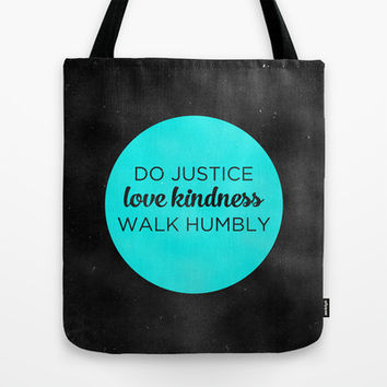 JUSTICE | KINDNESS | HUMILITY Tote Bag by Pocket Fuel