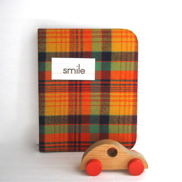 1970's zippered school binder in plaid by anythinggoeshere on Etsy