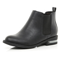River Island Womens Black metal trim Chelsea boots
