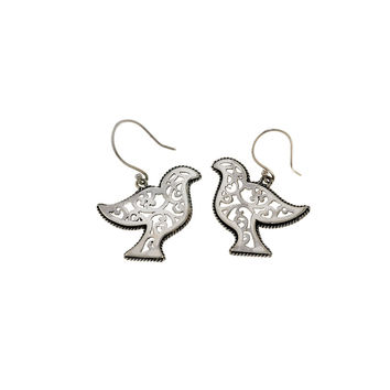 Peace Dove Sterling Silver Drop Earrings