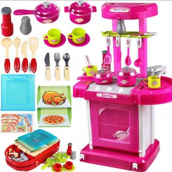 Kid's Kitchen Utensils Set Play House Changable Combination Kitchenware Red/pink