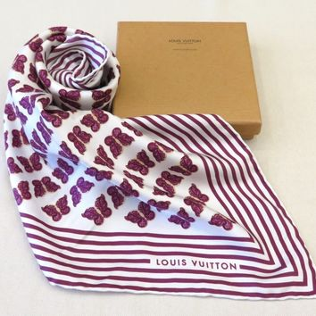 100% Auth LOUIS VUITTON 100% Silk Butterfly Scarf Purple Made In Italy W/Box