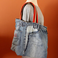 UPCYCLED Jean TOTE  Bag, Denim tote Bag, Weekend/Travel Bag, Spring/Summer Bag Bag