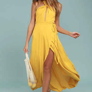 Marisha Golden Yellow Halter Wrap Dress