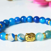 Cheap Fasion Promotions Handmade Natural Stone Beads Bracelet Men Women, Buddha Head Bracelet Elastic, Lion Head Bracelet