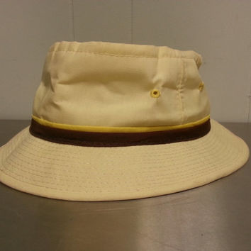 Vintage 70's Bucket Hat Jiff Roll- Up Gilligan Island Style Hat Yellow with a Brown Band Fisherman/ Boating Hat