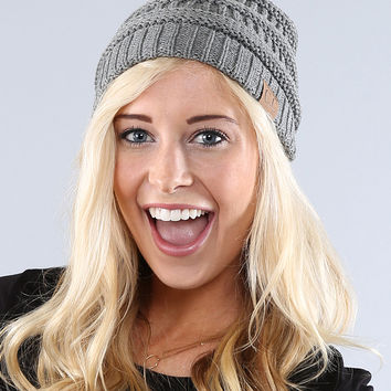 Coco and Main Gray Knit Beanie   zulily