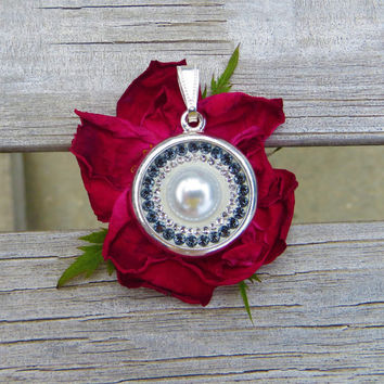 Swarovski Crystal Pendant with Pearl, necklace, Swarovski Crystals, silver, light sapphire satin, jewelry, white pearl, Crystal Icing